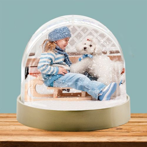 Bring your favourite photo to life with a photo snow globe.