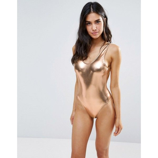 f6df0bd1ba Playful Promises Metallic Scoop Back Swimsuit ( 31) ❤ liked on Polyvore  featuring swimwear