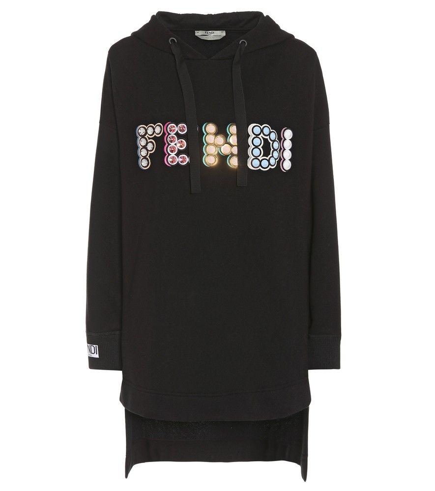 fendi - hoodie-kleid aus baumwolle mit verzierung - dieses