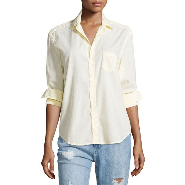 Frank & Eileen Eileen Button-Front Poplin Shirt ($210) ❤ liked on Polyvore featuring tops, yellow, frank eileen shirts, relaxed fit shirt, white top, relax shirt e white shirt