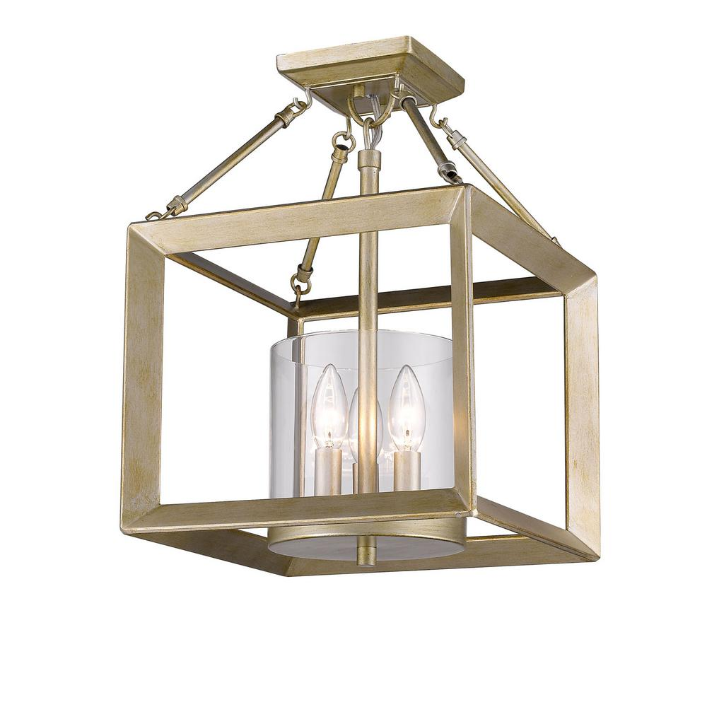 Golden Lighting Smyth 3 Light White Gold Semi Flush Mount 2073 Sf Wg Clr Flush Ceiling Lights Flush Lighting Semi Flush Ceiling Lights