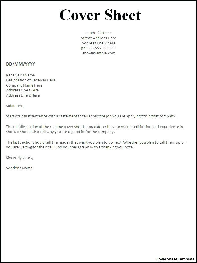 Free Resume With Cover Letter Templates Cover Sheet For