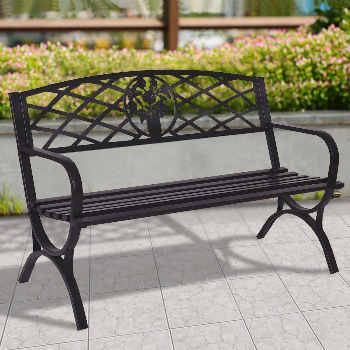 Costway 50 Patio Garden Bench Park Yard Outdoor Furniture Steel