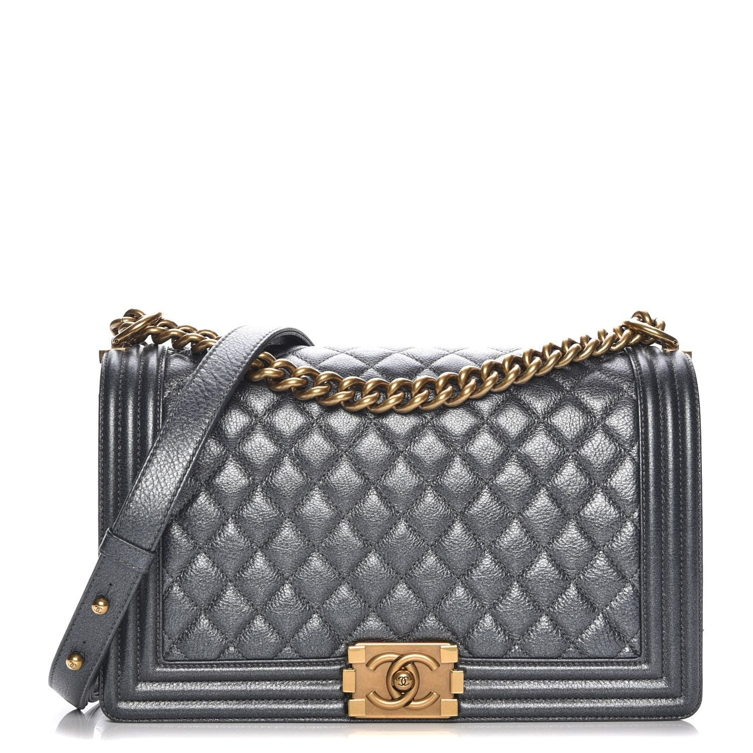 6b52651d4812 This is an authentic CHANEL Pearl Caviar Quilted New Medium Boy Flap in  Charcoal. This