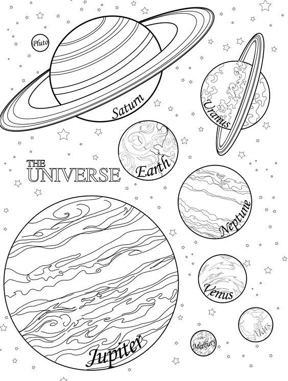 Planet coloring pages planets with names | Coloring things ...
