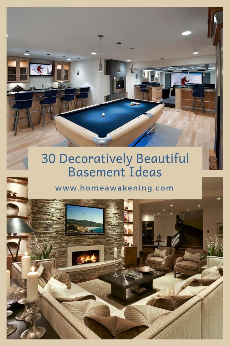 30 Decoratively Beautiful Basements Home Awakening Basement Design Finishing Basement Basement Furniture