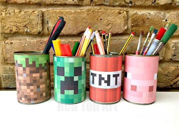 Minecraft desk tidy diy printables minecraft for Minecraft kinderzimmer