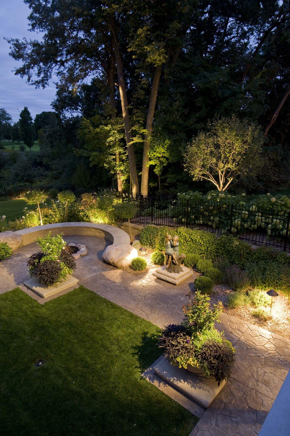 beautiful patio decoration with hadco lighting plus stone bench and garden - Beautiful Patio Decoration With Hadco Lighting Plus Stone Bench And