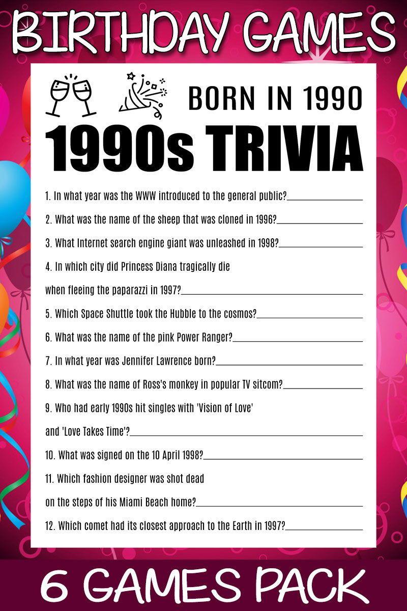 30th Birthday Games 30 Birthday Born In 1990 30th Birthday