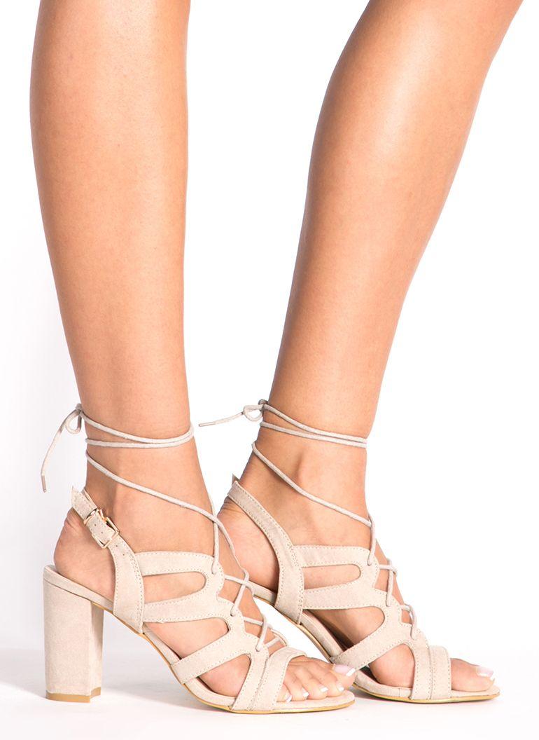 9a7883fb8d54c4 Beżowe wiązane sandałki na słupku Archive   Shoes   Buty, Obuwie i ...