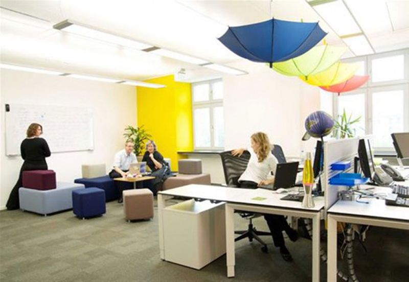 open office concept with collaborative space. like the use of