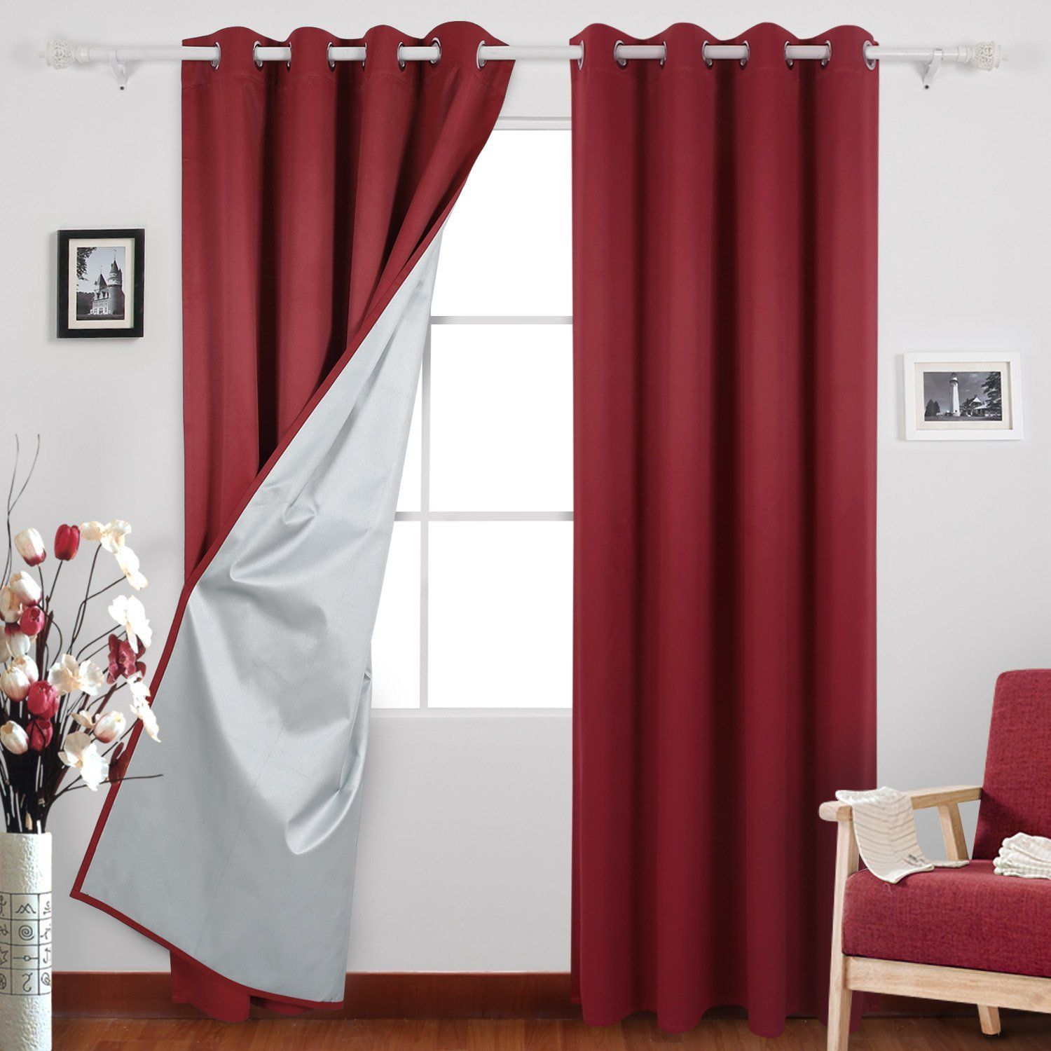 grommet cur with products insulated burgundy curtain panels of window chevron curtains blackout pack chrome design burg treatment white thermal