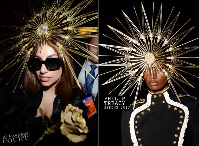 Lady Gaga in Swarovski Star Hat by Philip Treacy leaving her FAME fragrance  launch at Harrods 23f7986f683