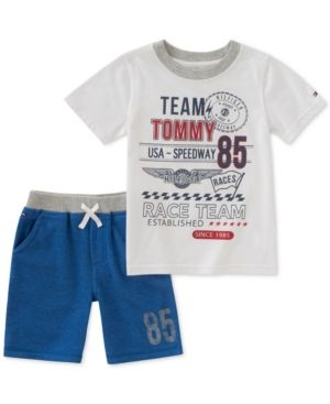 Tommy Hilfiger Baby Boys 2 Pieces Shorts Set, White, 12M