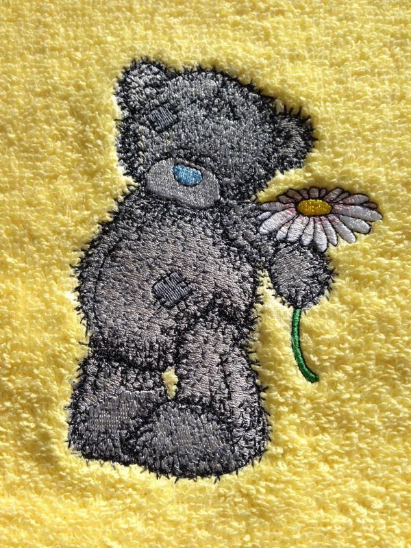 Teddy Bear With Chamomile Machine Embroidery Design