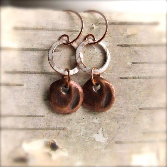 White Patinaed Copper Hoop Cast Coin  Patina Earrings