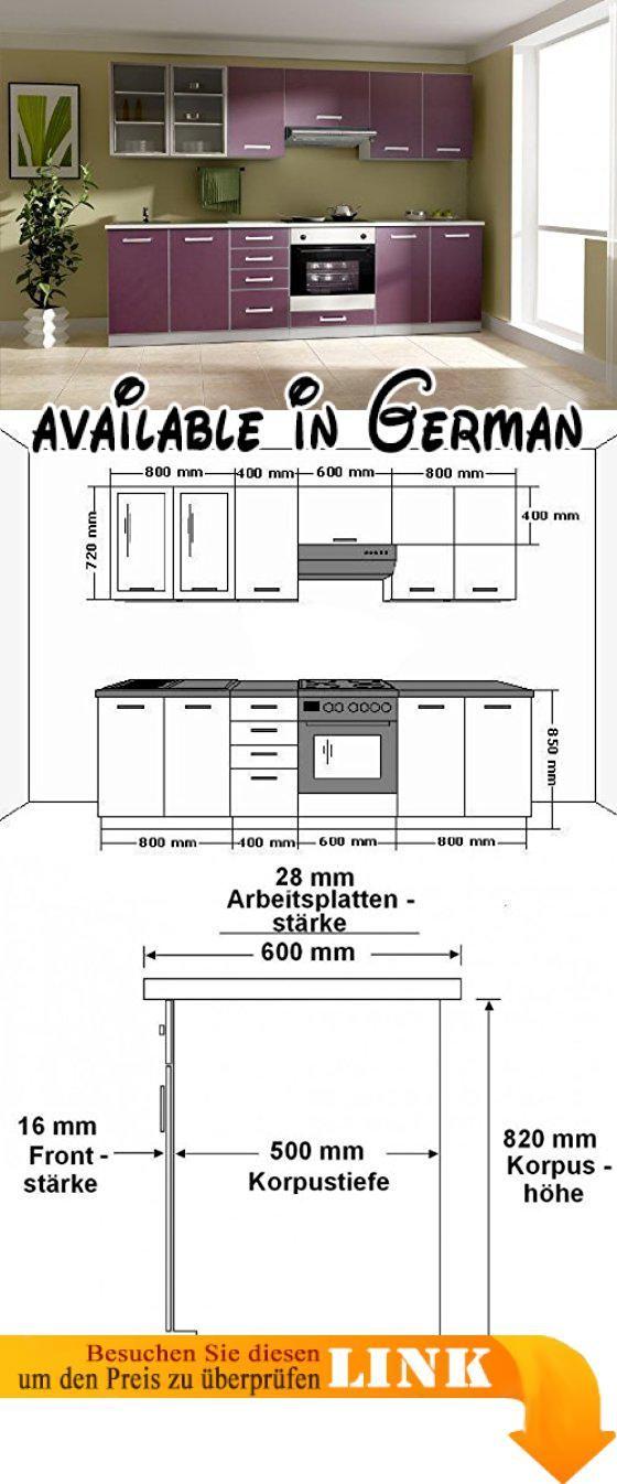 B008VO6P1K  Küche Emma 260cm Küchenzeile / Küchenblock variabel - hochschrank 30 cm breit küche
