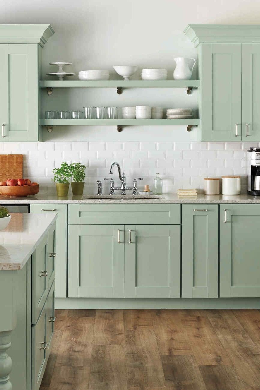 50 Amazing Farmhouse Gray Kitchen Cabinet Design Ideas In 2020 Green Kitchen Cabinets Cottage Style Kitchen Kitchen Cabinet Design