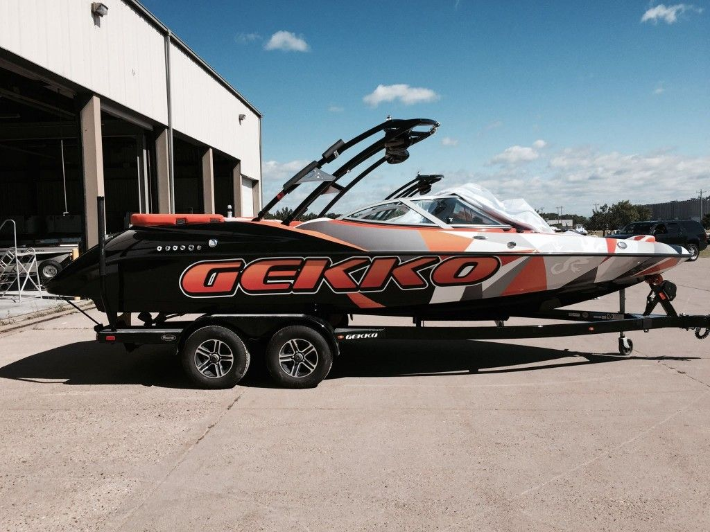 Orange And Black Wakeboard Boat Wrap Gekko Boats Wake And Ski - Sporting boat decalsbest boat wraps custom vinyl images on pinterest boat wraps