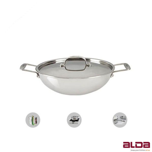 alda chinese wok buy alda triply stainless steel wok pan with lid 24 cm online