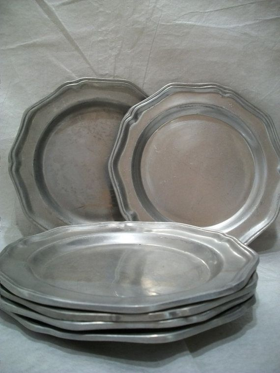 Vintage Wilton Columbia Pewter Plate Set of 6 Heavy Pewter Plate