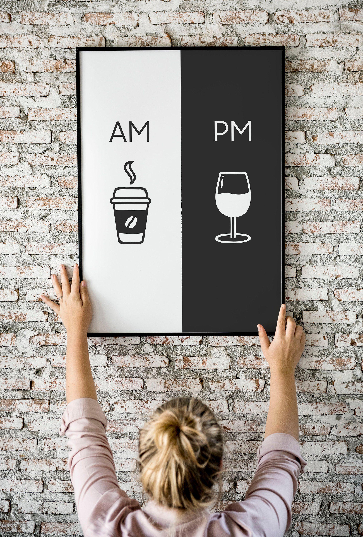 Am Pm Printable Art Kitchen Poster Coffee Wine Decor Etsy Vaggkonst Vaggdekorationer Enkel Inredning