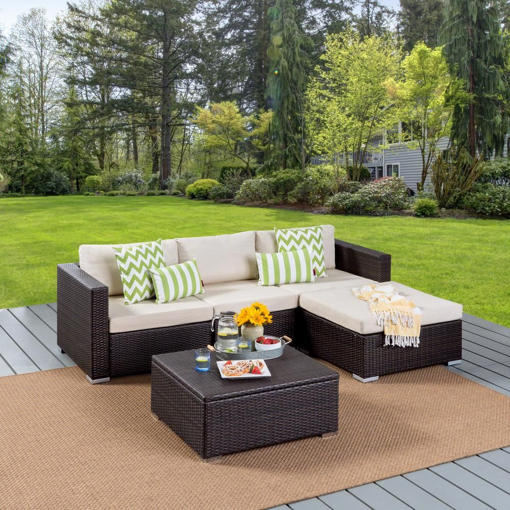 Noble House Beatrice Multi Brown Wicker Outdoor Couch Set With