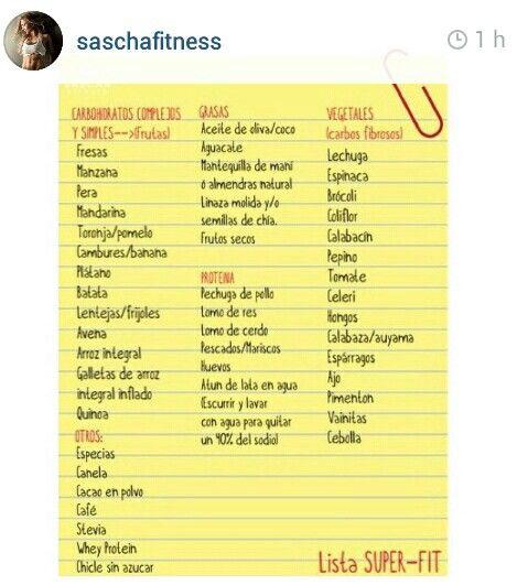 Lista De Compras En El Super Sasha Fitness Carbohidratos