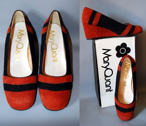 Fabulous Vintage1960s Original Mary Quant New in the Box Suede Wedge Shoes