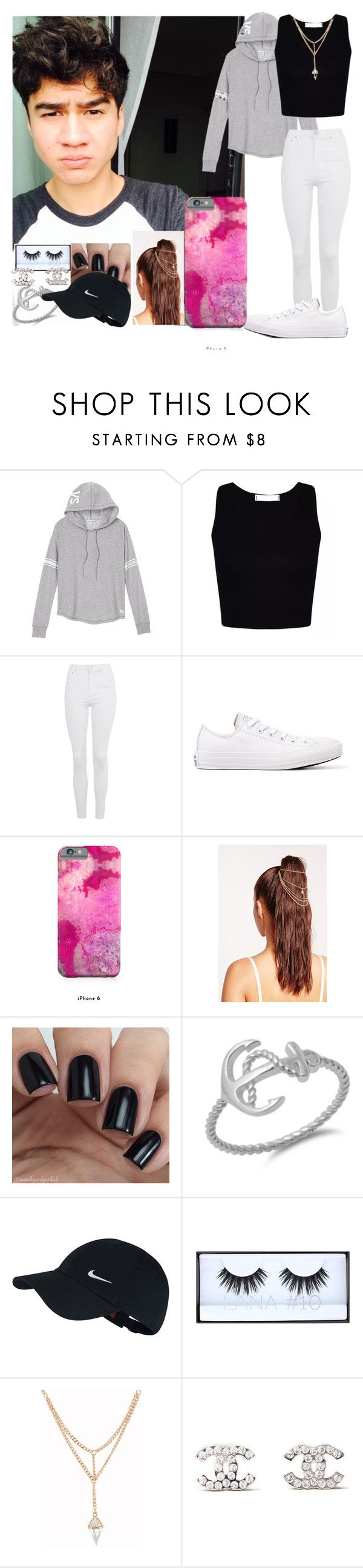 """""""Taking Morning Selfies with Calum"""" by harrypotterlover12 ❤ liked on Polyvore featuring Victoria's Secret, Topshop, Converse, Missguided, NIKE, Huda Beauty and Chanel"""