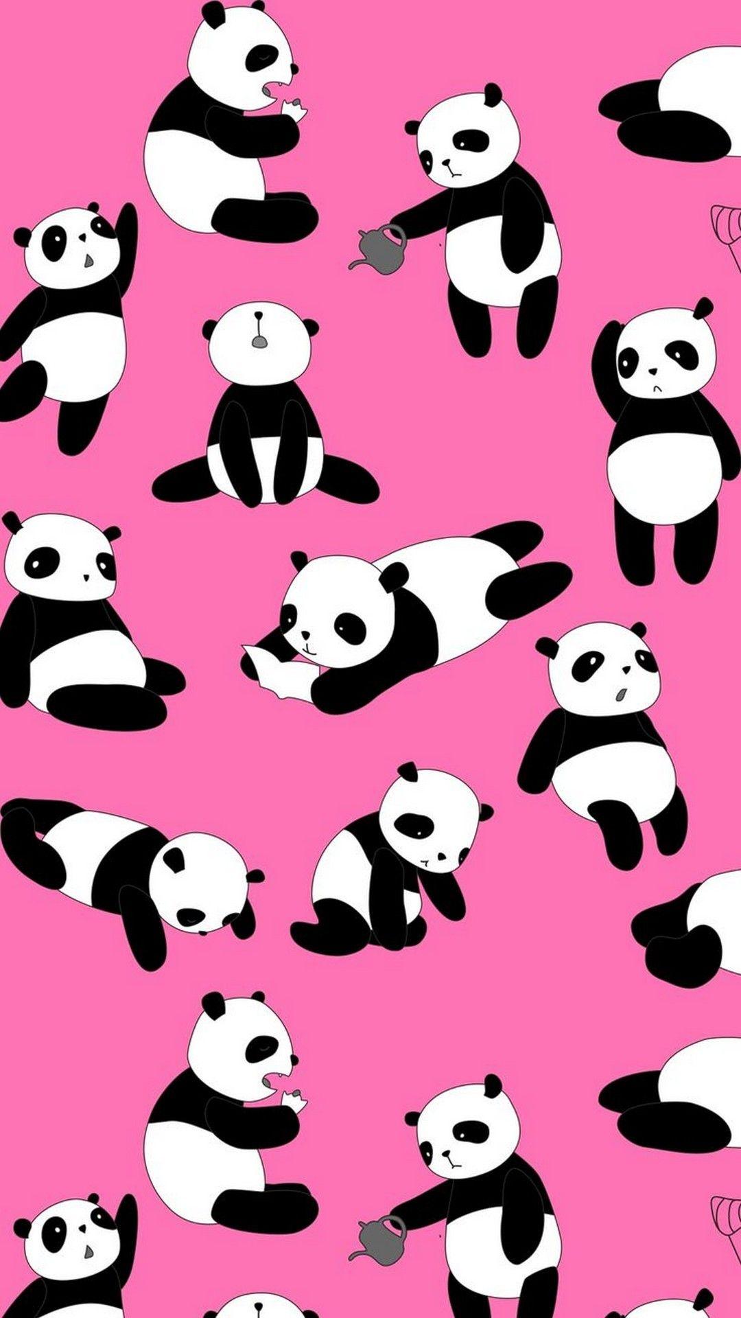 Cute Panda Pink iPhone Wallpaper Ilustrasi karakter