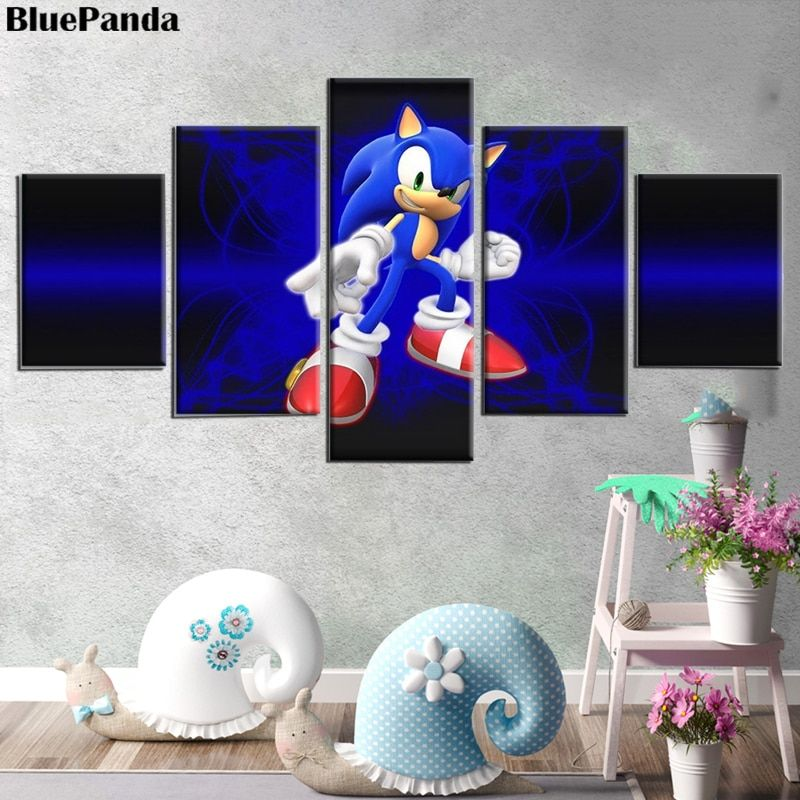 Video Game Sonic The Hedgehog 5 Pieces Modern Canvas ...