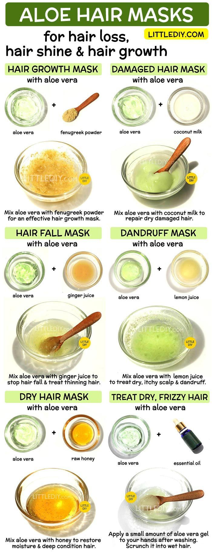 ALOE VERA HAARMASKEN für Haarwuchs, Haarausfall und Glanz - LITTLE DIY   - Skin Care and beau...