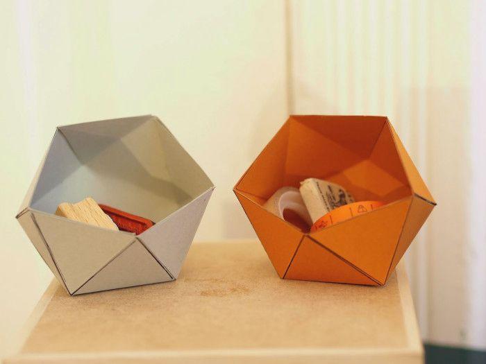 tutoriel diy fabriquer une bo te en papier g om trique via diy papier origami. Black Bedroom Furniture Sets. Home Design Ideas