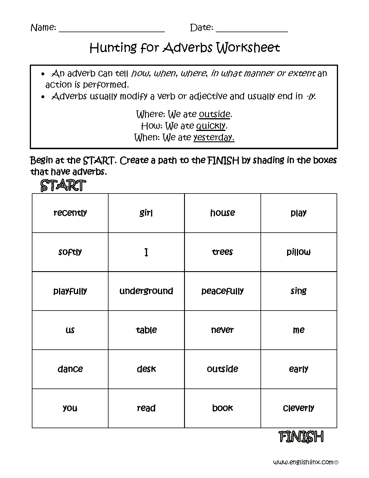 Hunting for Adverbs Worksheets   Adverbs worksheet [ 1650 x 1275 Pixel ]
