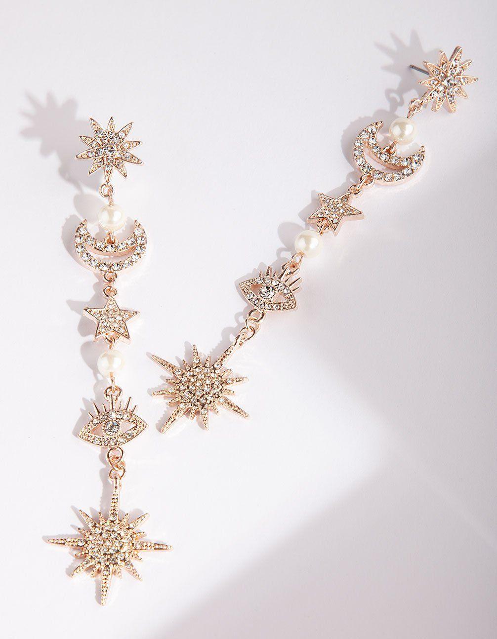 Rose Gold Bling Eye Star Earring Star Earrings Lovisa Jewellery Rose Gold Earrings