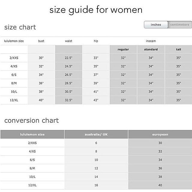Lululemon Size Chart Getting Your Best Lululemon Clothing Fit In