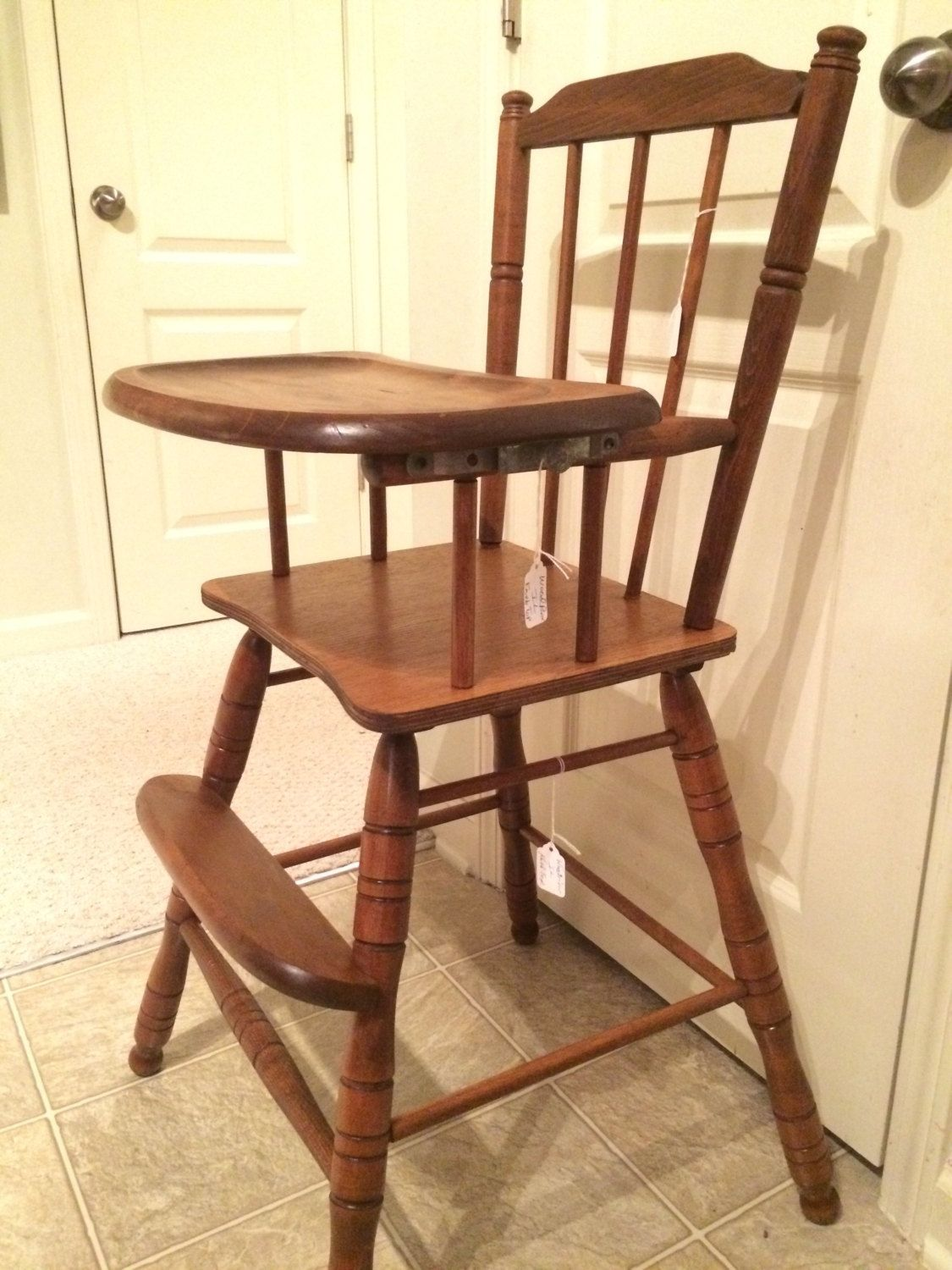 Painted wood high chair - Vintage Wooden High Chair Jenny Lind Antique High Chair Vintage High Chair