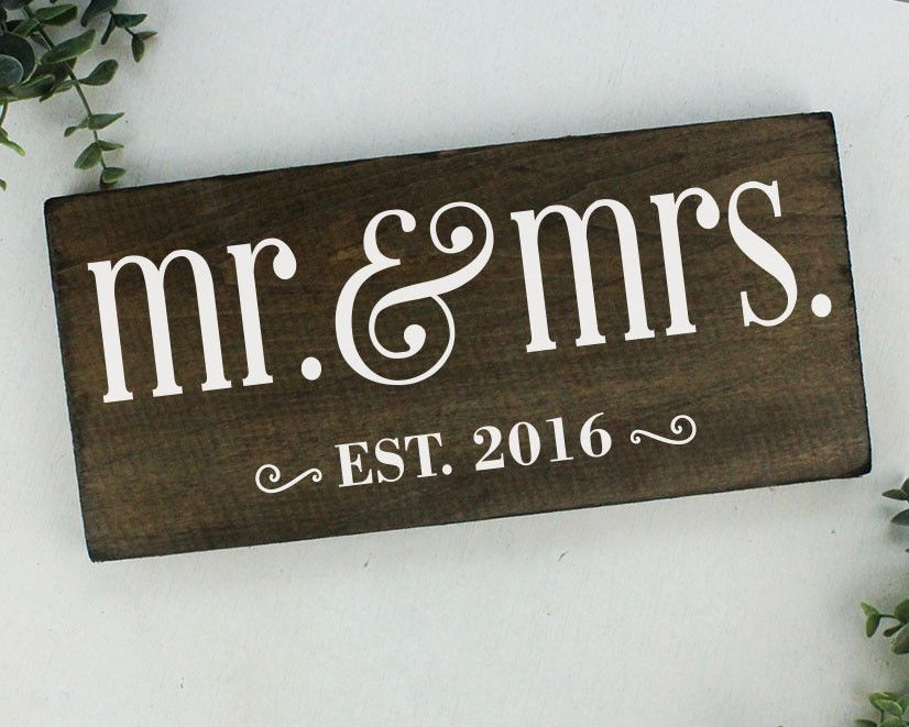 Mr and Mrs Sign Wedding Gift Mr