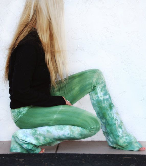 TieDye Yoga Pants in Rosemary Sage Green by AkashaSun on Etsy, $55.00