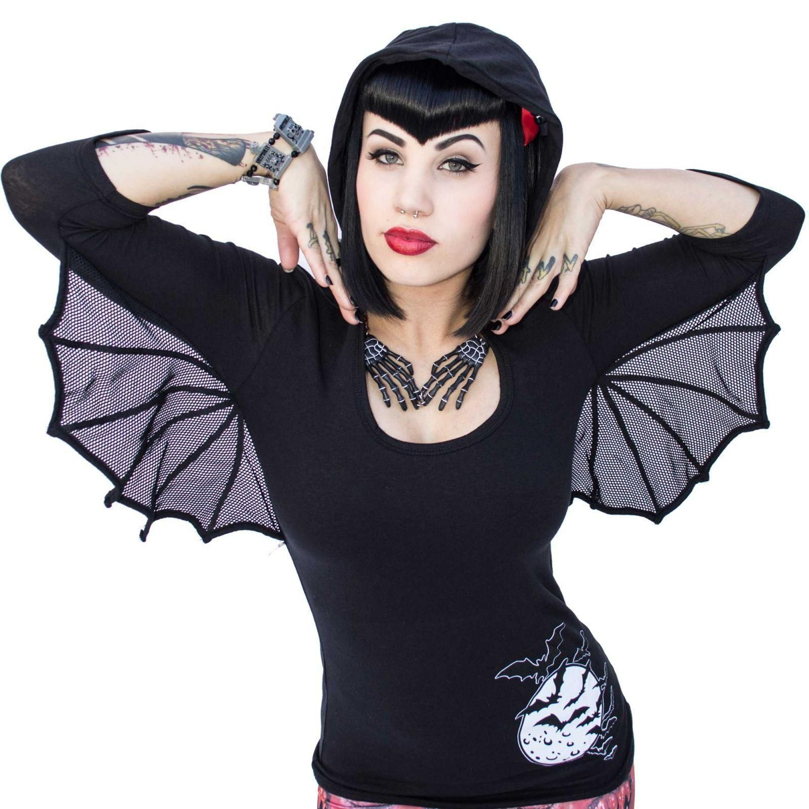 Bat Wing Hooded Tunic Top Black By Kreepsville 666 At Hell S Boutique Cotton Lycra With V Detail On Sleeves And