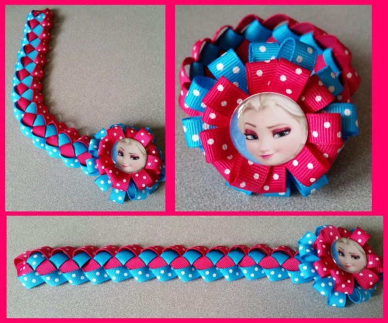 Disney Frozen Hair Bow Ribbon Bun Wrap #F6 (you choose image and ribbon colors)
