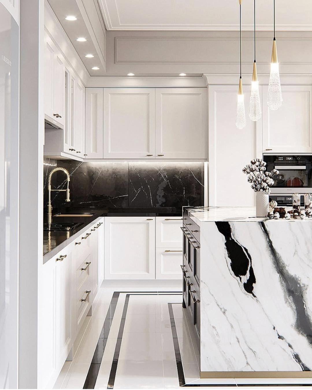 Ashley Stark Kenner On Instagram A Little Panda Marble In The Kitchen Black White And Bold By Bal Interior Design Kitchen Luxury Kitchens Kitchen Interior