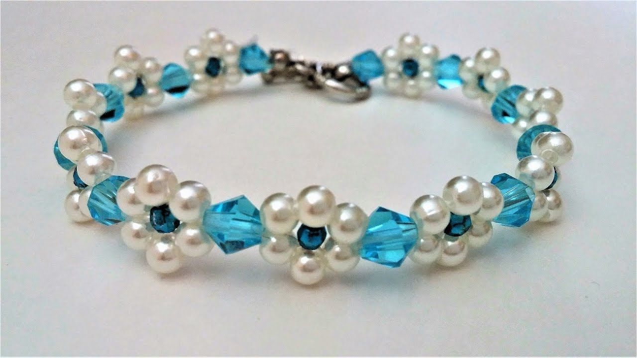 How to make a beaded flower bracelet. Beginners project - YouTube ...