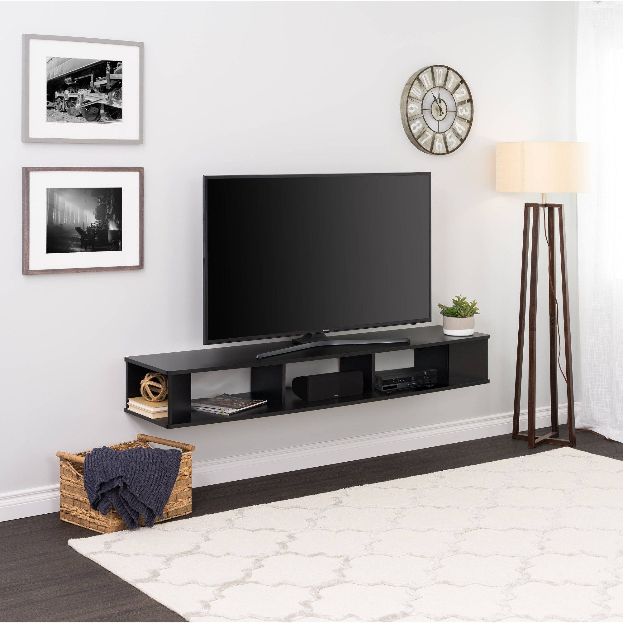 70 Wall Mounted Tv Stand Black Prepac Living Room Tv Tv Rack Design Wall Mount Tv Stand