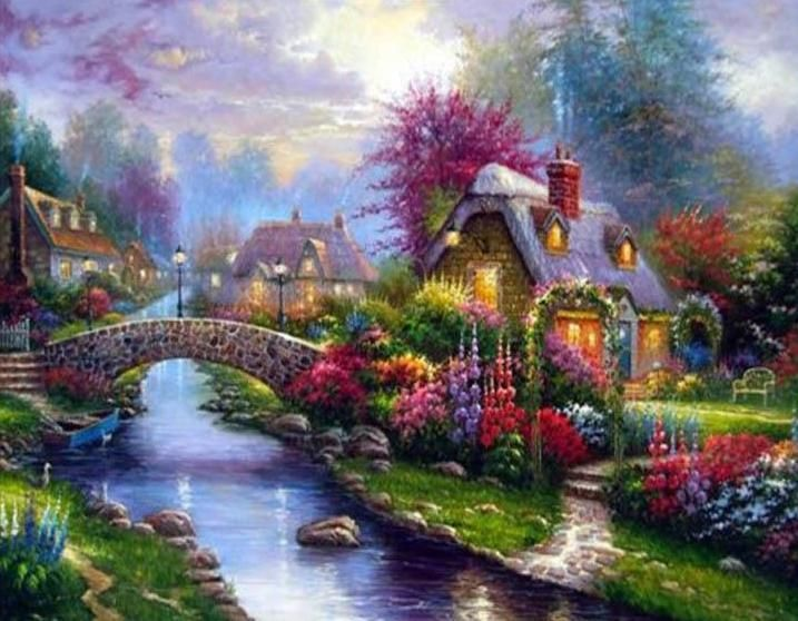 2019 New Style 3d Diy Dmc Cross Stitch Silk Cotton Thread Scenery Needlework Rustic Landscape Painting Hd Printed Canvas Embroidery Kits Arts,crafts & Sewing Patterns