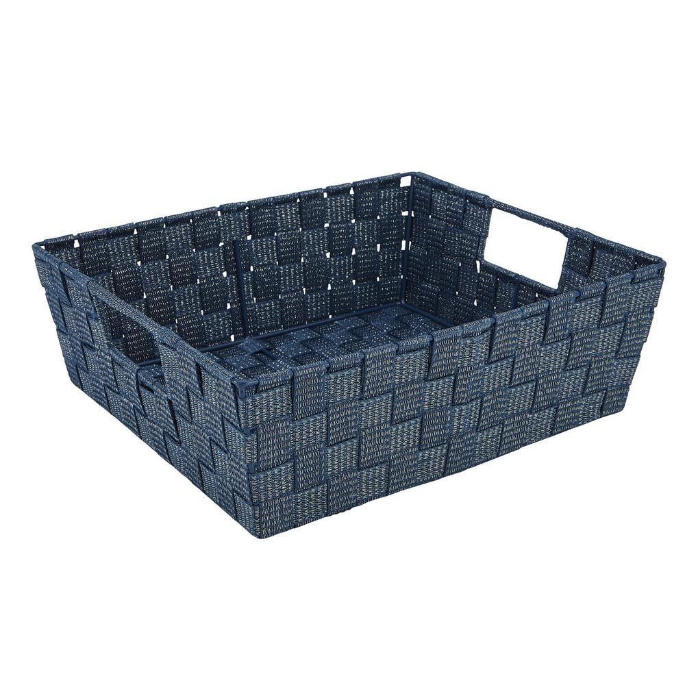 Large Lurex Striped Woven Strap Shelf Tote, Blue