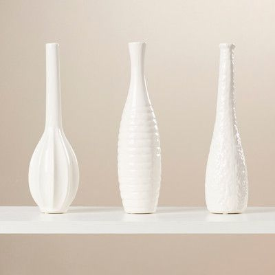 Wade Logan Langford 3 Piece Ceramic Vase Set Color White Products