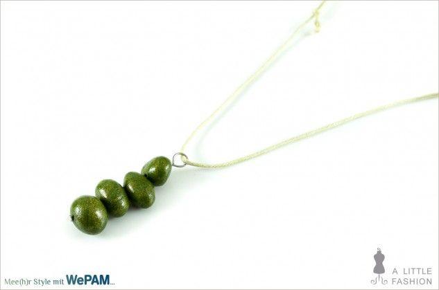 längenverstellbare Kette mit Kaltporzellan-Perlen