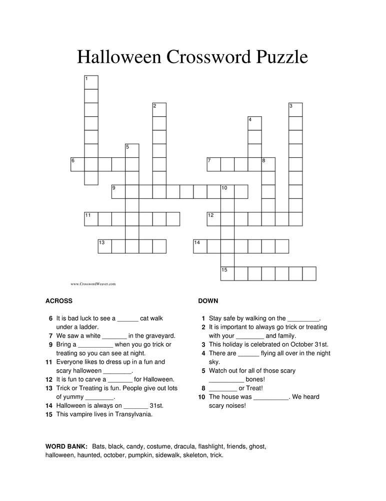 Halloween Crossword Puzzle Worksheet Halloween Crossword Puzzles Crossword Puzzle Halloween Vocabulary